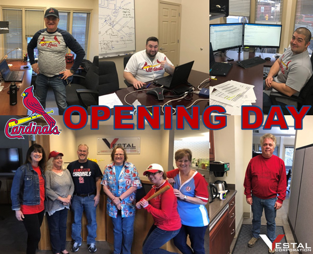 Vestal Corp celebrating St Louis Cardinals Opening Day