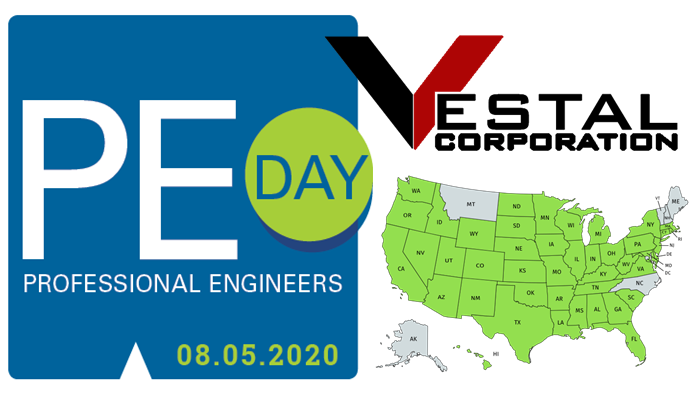 Vestal Corporation's Professional Engineers are licensed in 44 states and Mexico